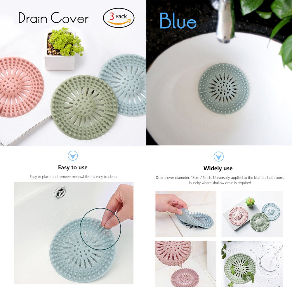 FORNORM 3 Pack Drain Cover Shower for Trap, Bathroom Sink Hair Catcher Strainer Shower Drain Protector Hair for Kitchen Bathroom Laundry Sink, Pink Green Blue, 13cm/5
