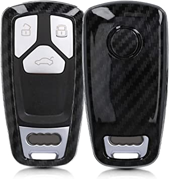 kwmobile Car Key Cover for Audi - Black only Keyless Go Hard Shell Keyless Entry Fob Case with Design for Audi 3 Button Car Key Smart Key