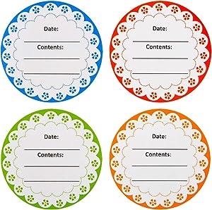 TuTuShop Canning Labels for Jars, 2 Inch Round Canning Labels,200 Pics Multicolored Canning Label Stickers for Jar,Lids,Glass, Food Storage,Packaging/Letter Sealing (Flower Pattern)