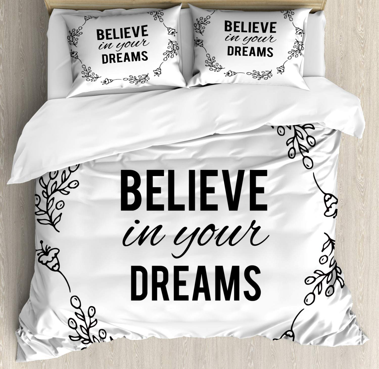 Ambesonne Dream Duvet Cover Set, Vintage Frame with Monochrome Believe in Your Dreams Words Hand Drawn Laurel, Decorative 3 Piece Bedding Set with 2 Pillow Shams, King Size, White Black