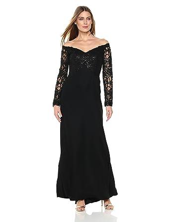 8da7c73cfa Tadashi Shoji Women's Off Shoulder Sequin Lace Long Sleeve Gown: Amazon.in:  Clothing & Accessories