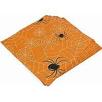 Orange Spider Paper Napkins - Disposable Dinner Napkins for Halloween Get-together, DIY Parties, Unfolded 13x13 inches…