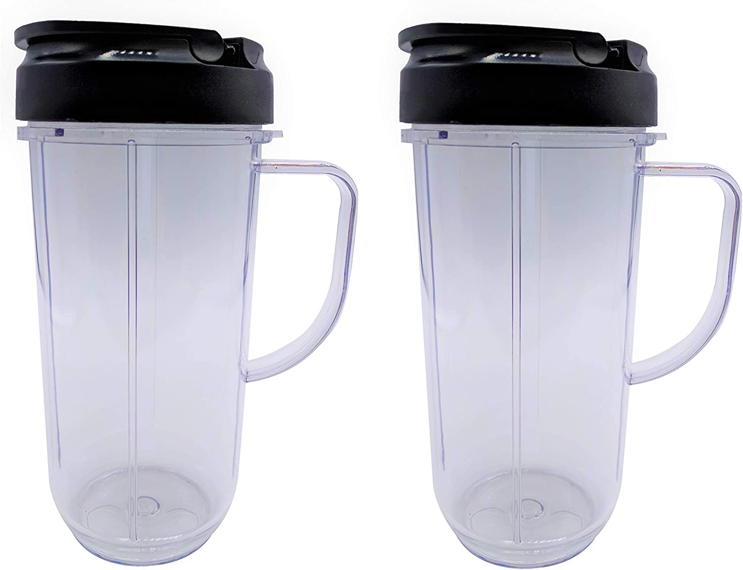 Blendin Replacement Cup With Flip Top to Go Lid, Compatible with Magic Bullet MB1001 Blender (2, 22oz Mug)