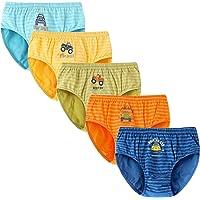 Syrosa - Calzoncillos para niño (algodón, 5 unidades), con dibujos de coches y camiones, color azul, 2-12 años
