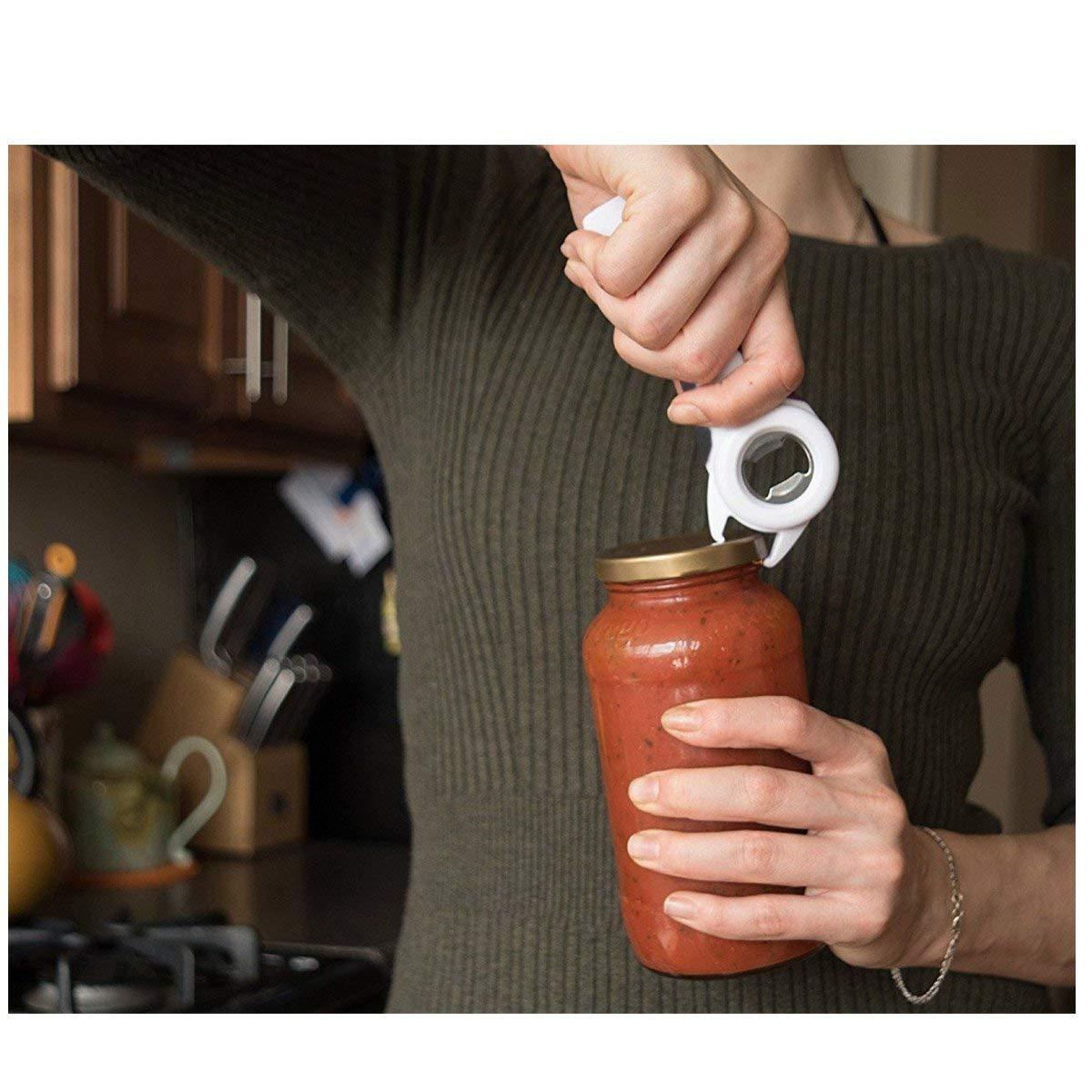les languettes et les bouteilles MAIYADUO Ouvre-bocal en acier inoxydable et d/écapsuleur pour enlever les couvercles tenaces