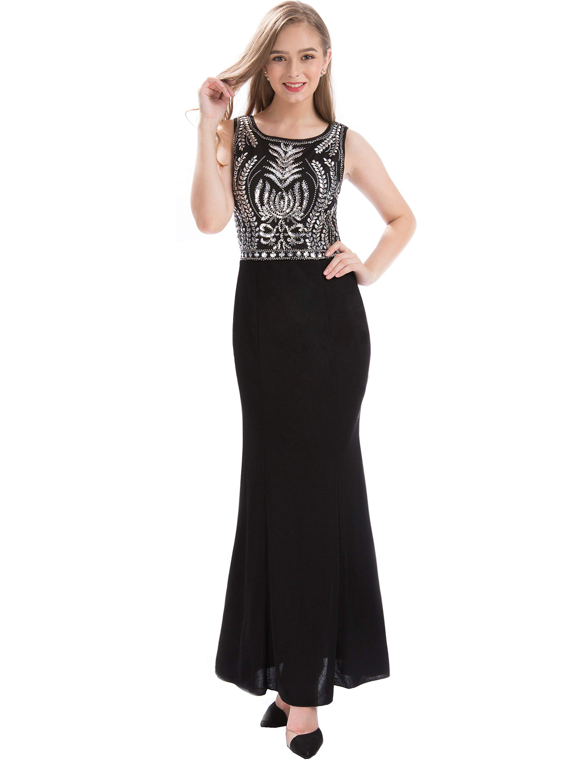 MANER Women's Glitter Glass Beads Sequin Long Formal Gowns Mermaid Evening Prom Dresses (Black/Silver, M)