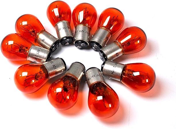 12v 21 5w 2 Faden Glühbirne 10 Stück Orange Ba 15d Blinker Harley Blinker Us Cars Auto