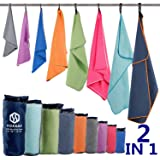 HOEAAS Microfiber Sport Travel Towel Set-(Size:S, M, L, XL, XXL)- Quick Dry, Super Absorbent, Ultra Compact Towel-Fit for Bea