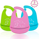 Waterproof Silicone Baby Bibs, Omew Adjustable Soft Feeding Bibs with Food Crumb Catcher Pocket for Babies/Toddlers-Easy to Clean, Dry, Non Messy-3 Pack (Blue/Green/Pink)