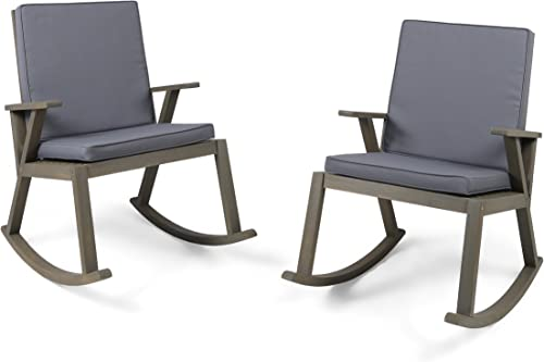 Christopher Knight Home 304687 Andy Outdoor Acacia Wood Rocking Chair with Cushion Set of 2, Grey Finish Dark Grey