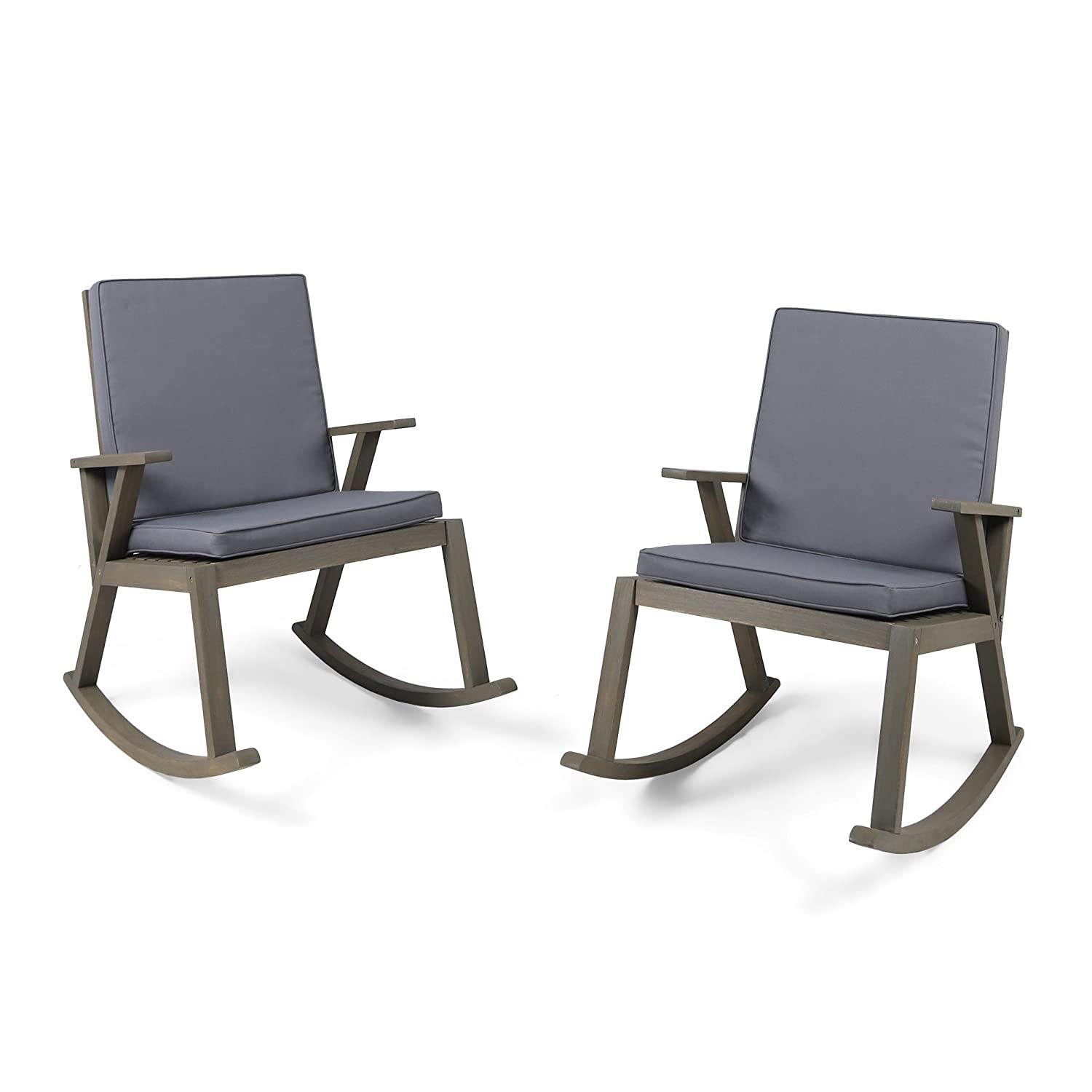 Christopher Knight Home 304687 Andy Outdoor Acacia Wood Rocking Chair with Cushion Set of 2 Dark Grey, Finish