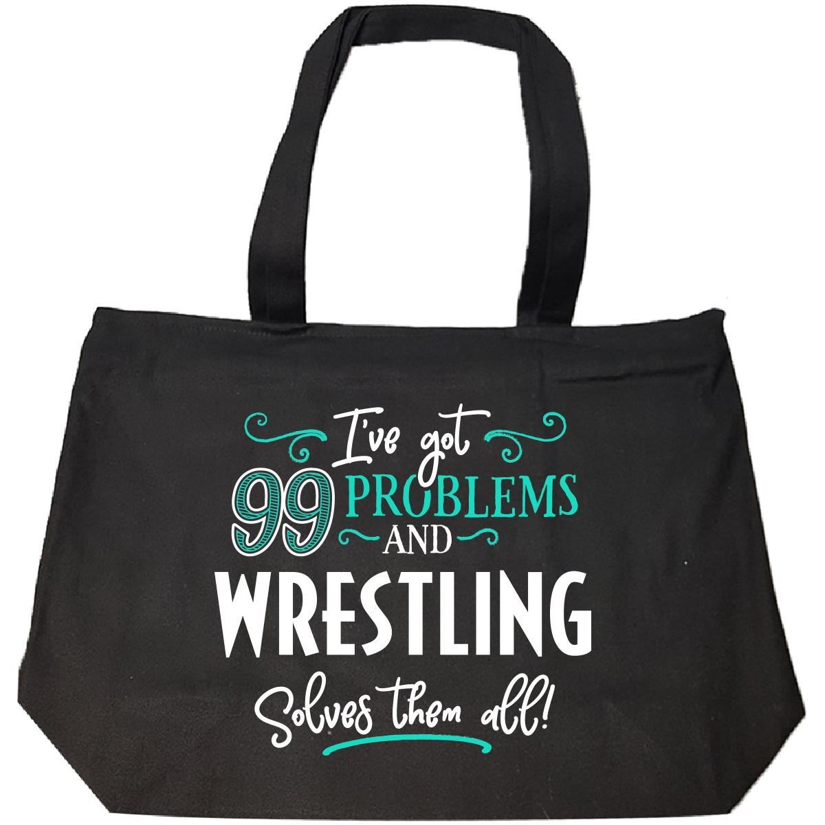 99 Problems Wrestling Solves Them All Gift - Tote Bag With Zip by My Family Tee