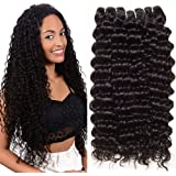 CLAROLAIR Unprocessed Brazilian Virgin Hair Extensions Real Hair Weft Brazilian Curly Human Hair Weave Brazilian Deep Curly Hair virgin brazilian hair One Bundle Natural Color (100+/-5g)/pc 8 Inch