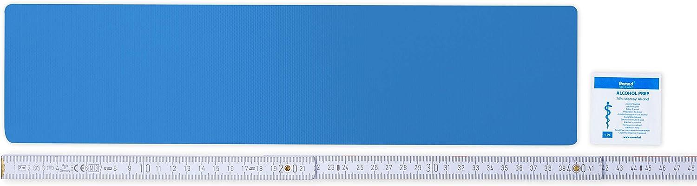Flickly Tiritas para reparación de lonas, disponible en muchos colores, 40 cm x 10 cm, autoadhesivos (azul claro)
