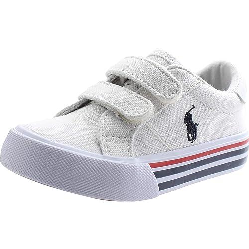 8b1e756f2 Polo Ralph Lauren Edgewood EZ Blanco Lona Bebé Entrenadores Zapatos   Amazon.es  Zapatos y complementos
