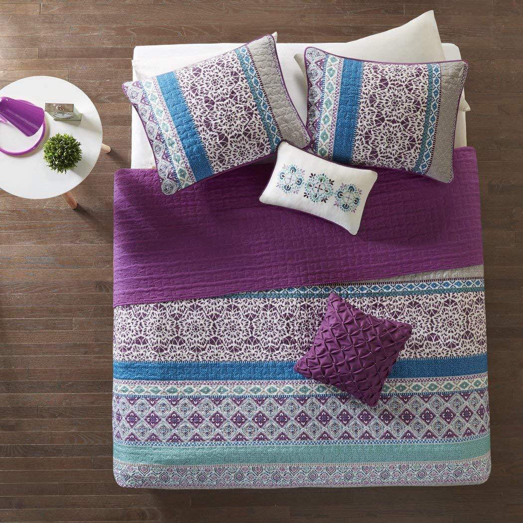 5 Piece Girls Dark Purple Blue Grey Bohemian Stripe Coverlet Full Queen Set, Stylish All Over Striped Boho Chic Floral Bedding, Girly Intricate Geometric Flower Diamond Themed Pattern, Gray Off White