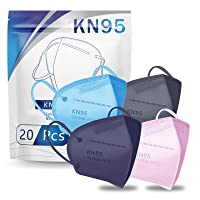 KN95 Face Mask 20 PCS, Filter Efficiency≥95%, 5 Layers Cup Dust Mask Against PM2.5 from Fire Smoke, Dust, for Men, Women, Essential Workers(Muti-Color)