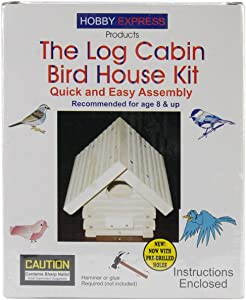 Pinepro Unfinished Wood Kit, Log Cabin Bird House