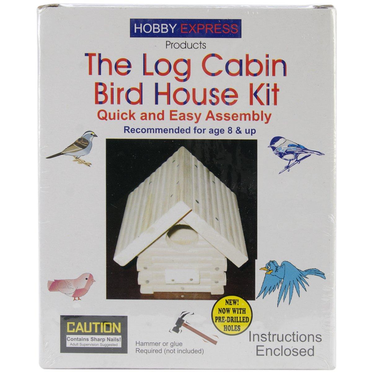 Amazon.com: Pinepro Unfinished Wood Kit, Log Cabin Bird House: Arts, Crafts  U0026 Sewing