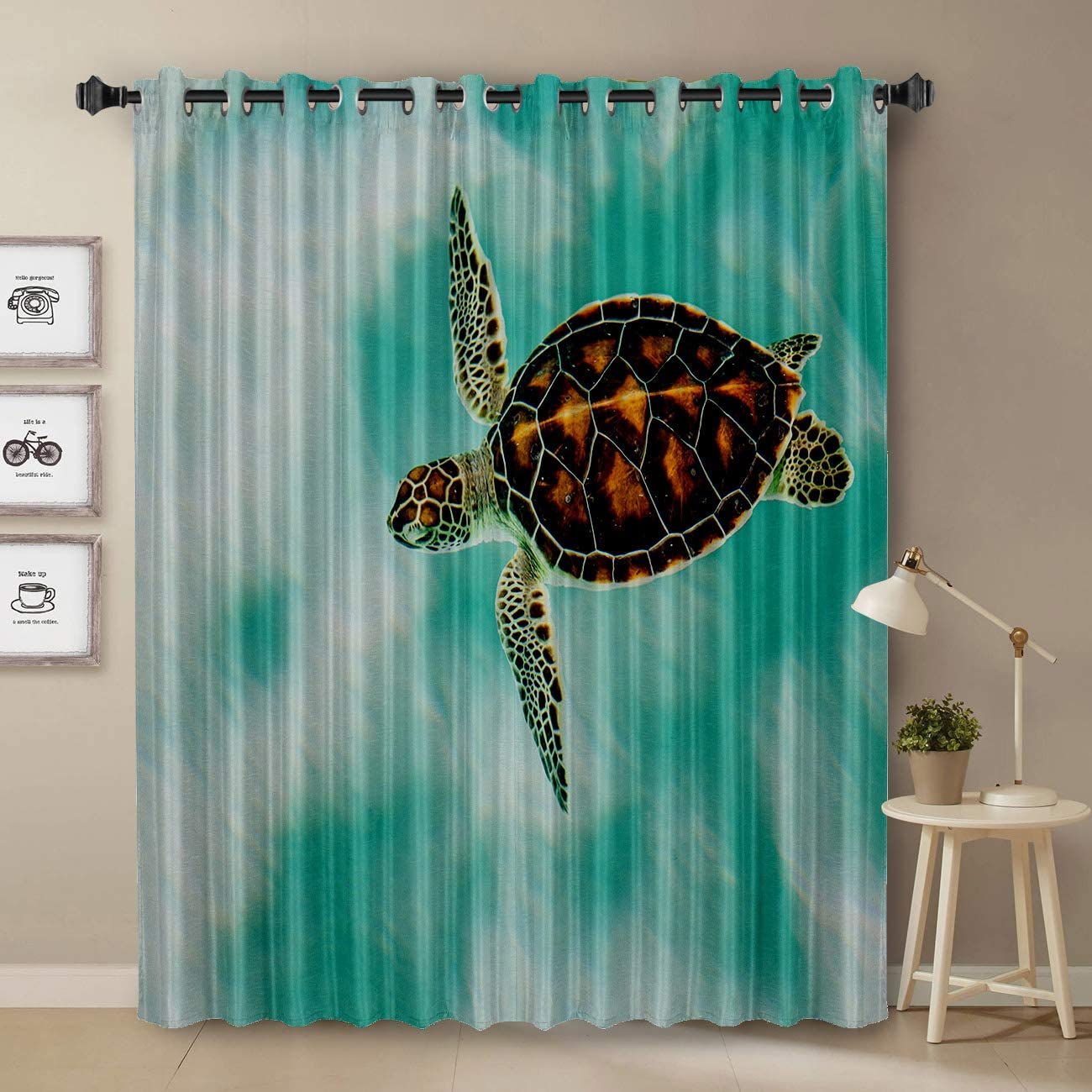 T H Home Custom Art Panel Sea Turtle Blackout Curtain by, Ocean Animal Art Decor Window Draperies Curtains for Apartment Bedroom Living Room Kitchen Cafe Office, 52 W by 90 L