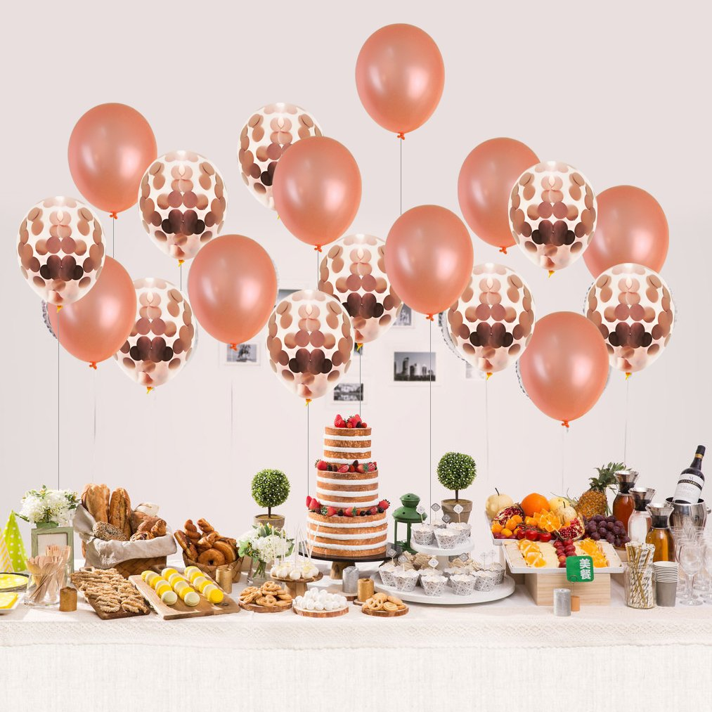 30 pcs Rose Gold Balloons,baotongle Confetti Balloon Set for Bridal Shower Decorations, Birthday Party 12 inch