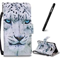 Galaxy A3 2016 Leather Case, Samsung Galaxy A3 2016 Phone Case, Slynmax Samsung Galaxy A3 2016 Case Flip Folio Leather Wallet Case Ultra Thin Lightweight Bookstyle Painted White Leopard Design Phone Holster Cover Silicone TPU Soft Inner with Magnetic Clasp Stand Function Credit Card Holder ID Slots Cash Pocket Wrist Strap For Girl Women String Lanyard Shockproof Protective Case Smart Shell for Samsung Galaxy A3 2016 SM-A310 + 1* Black Stylus Pen
