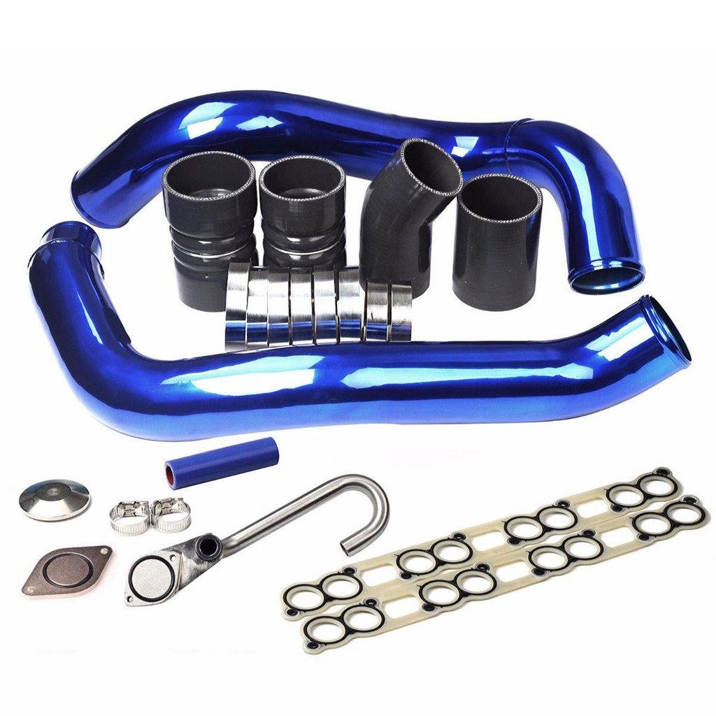 Blue Turbo Intercooler Pipe + EGR Delete Kit + Boot Kit CAC Fit Ford 03-07 6.0L F250 blackhorseracing