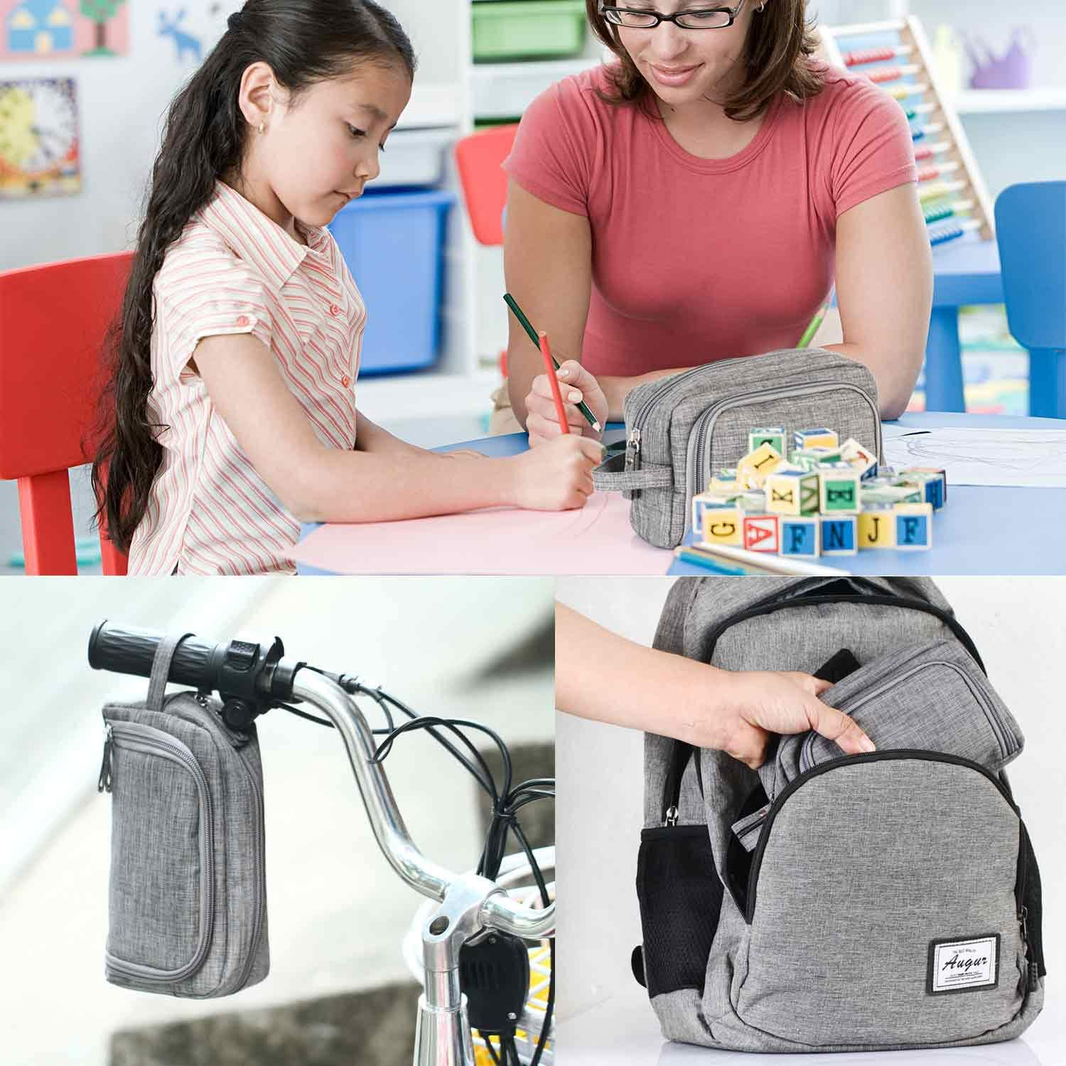 Gray Big Capacity Colored Canvas Storage Pouch Marker Pen Pencil Case Simple Stationery Bag Holder for Middle High School Office College Student Girl Women Adult Teen Adult Simple Large Storage