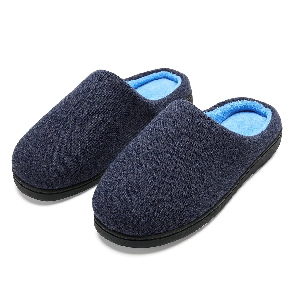 INFLATION Men's Comfortable House Shoes Women's Two-Tone Memory Foam Breathable Knitted Cotton Slippers for Family