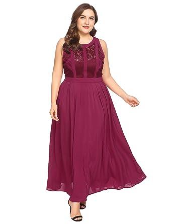 a379099498 Zeagoo Plus Size Womens Retro Lace Retro 1920 S Classic Style Formal Long  Party Dress (16W
