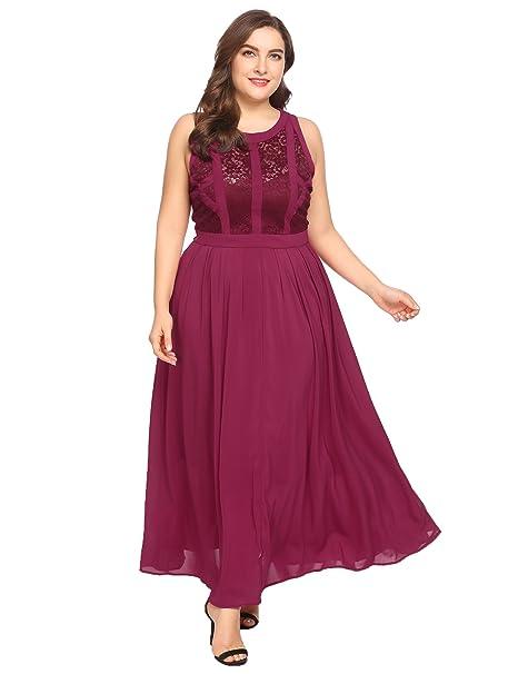 Zeagoo Plus Size Womens Retro Lace 1920\'S Classic Style Pleated Sleeveless  Party Maxi Dress