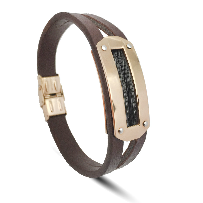ZD-Jewelry Mens Bracelets , Black&Brown leather Bracelets ,Golden stainless steel buckle,Bracelet For Men 8.5 inch Wristband Fashion Accessories