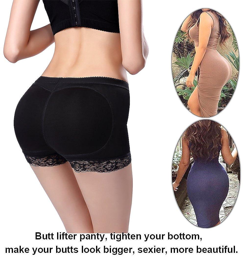 Jenbou Womens Butt Lifter Shapewear Enhancer Padded Control Panties Boyshort Seamless Briefs Fake Buttock Hip Lace Underwear