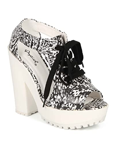 CG26 Women Snake Peep Toe Cutout Lace Up Chunky Heel Ankle Bootie - Black/White