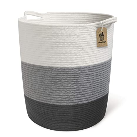 topfurnishing Grey Wicker Baby Nursery Storage Laundry Basket Toy Blanket Box Lined Grey,Medium 52x32x32cm