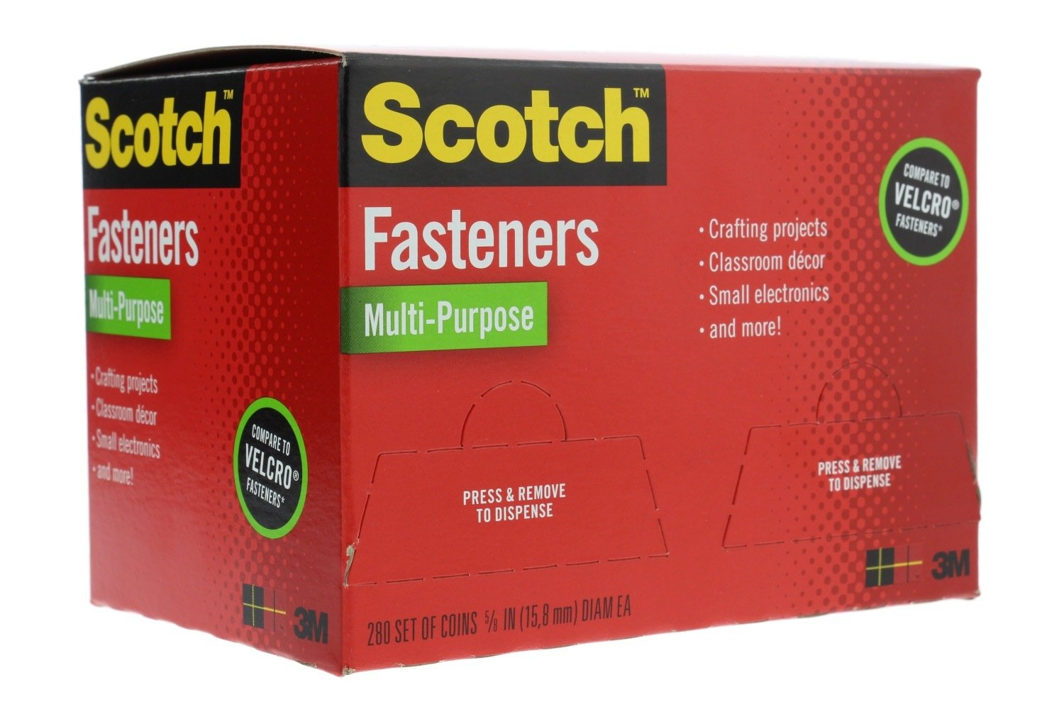 Scotch Multi-Purpose Re-closeable Hook and Loop Fasteners (280 Sets of Dots) - White