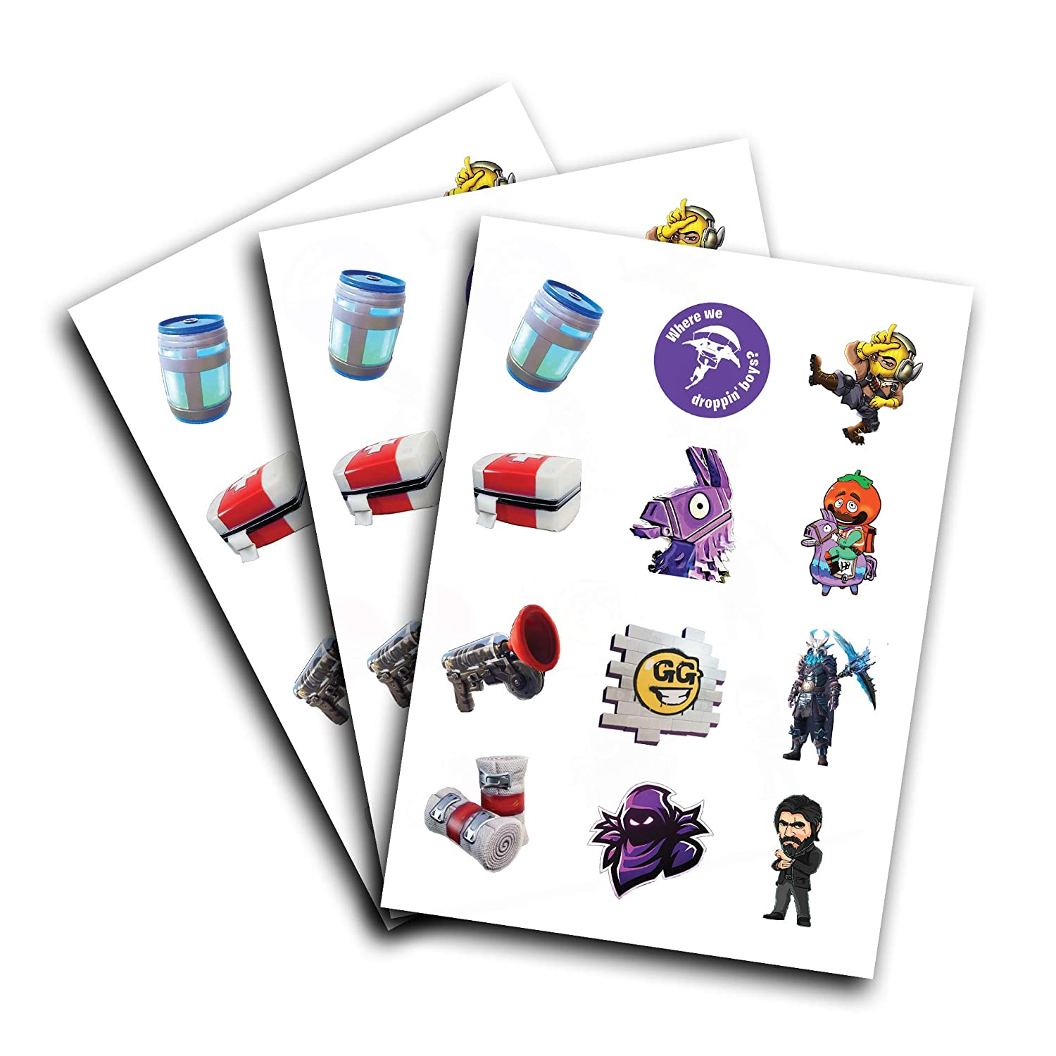 3 Sheets of Fortnite Characters Kids Temporary Tattoos | Fortnite Video Game Characters | Easy to Use | Safe | Durable | Tattoos for Children | Multiple Designs | Non-toxic | Kids Tattoos (Version 1) Desk Island