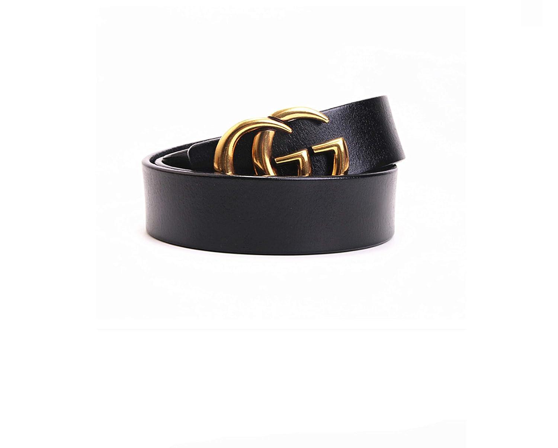 CG+GC@Unisex belt{3.5}Width Cowhide{Black} Vintage buckle