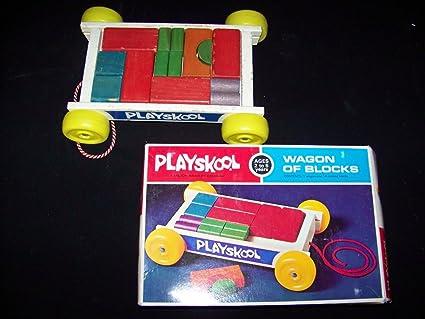 Amazoncom Wagon Of Blocks 1972 Vintage Wooden Block Set By