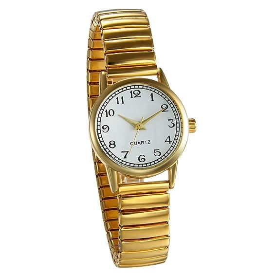 JewelryWe Reloj de Pulsera para Mujer Oro Dorado, Correa de Metal Retro Vintage Reloj Cuarzo Plano Pequeño, 2017 Buen Regalo para Dia de la Madre: ...