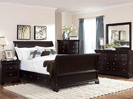 Inglewood 5 PC Sleigh California King Bedroom Set With Chest By Homelegance  In Espresso
