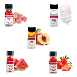 LorAnn Super Strength 5 pack, Watermelon, Strawberry, Cotton Candy, Bubble Gum, Peach Flavors , 1 dram (.0125 fl oz. 3.7 ml) bottles