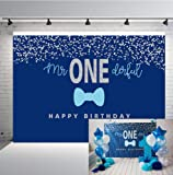 Botong 7x5FT Boys 1st Birthday Mr. Onederful Backdrop Blue Bow Tie Blue and Silver Photography Background Baby Shower Boy Toddler Little Man First Birthday Cake Table Decorations Photoshoot Banner