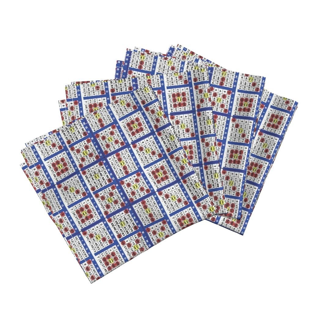 Roostery Bingo Linen Cotton Dinner Napkins Bingo Cards 6On by Dd Baz Set of 4 Cotton Dinner Napkins made by