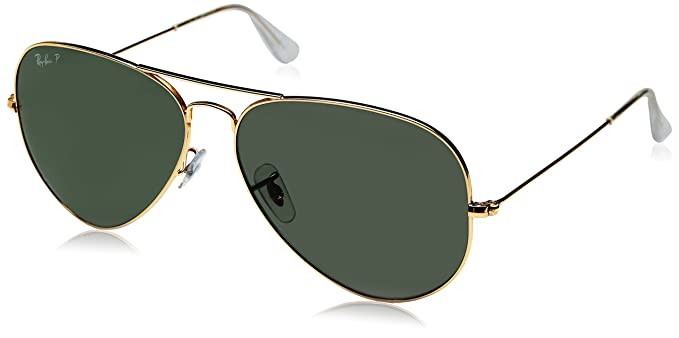 ray ban aviator large metal gold frame crystal green polarized lenses 62mm polarized