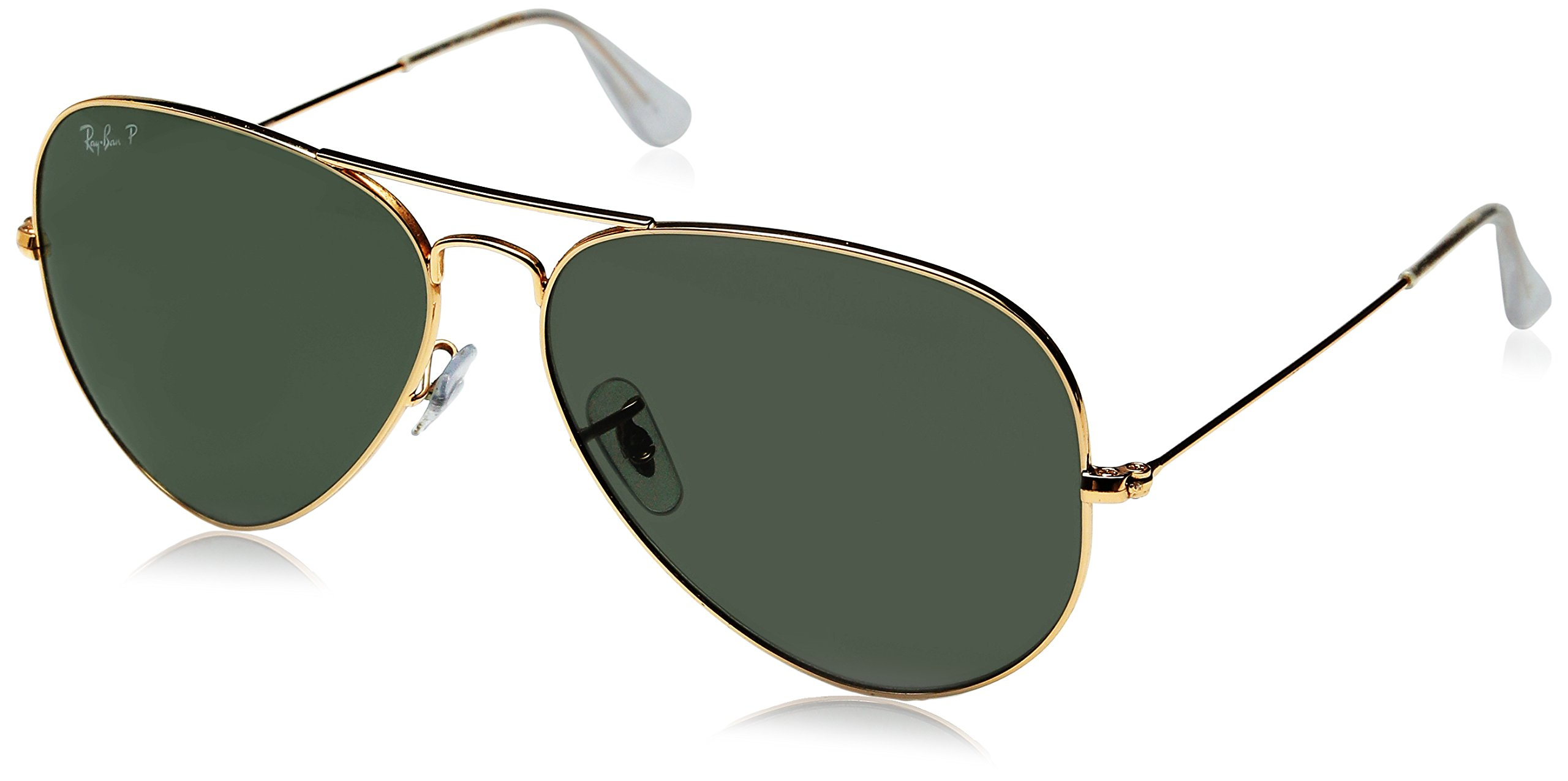 Ray-Ban 3025 Aviator Large Metal Non-Mirrored Polarized Sunglasses, Gold/Green, 62mm