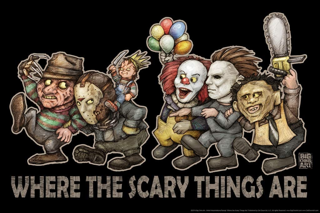Where The Scary Things are by Big Chris Horror Movie Cool Wall Decor Art Print Poster 36x24