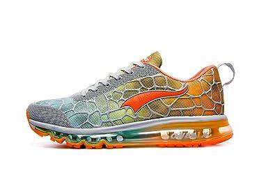 ONEMIX Men's Lightweight Air Cushion Sport Running Shoes Grey Orange Size 10
