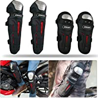 AllExtreme (BSDDP) Stainless Steel Pro Biker Knee and Elbow Guards, Set of 4, Ultimate Quality Racing Knee/Shin Motorcycle Riding Knee and Elbow Guard For Scooter, Skateboard, Bicycle - Black