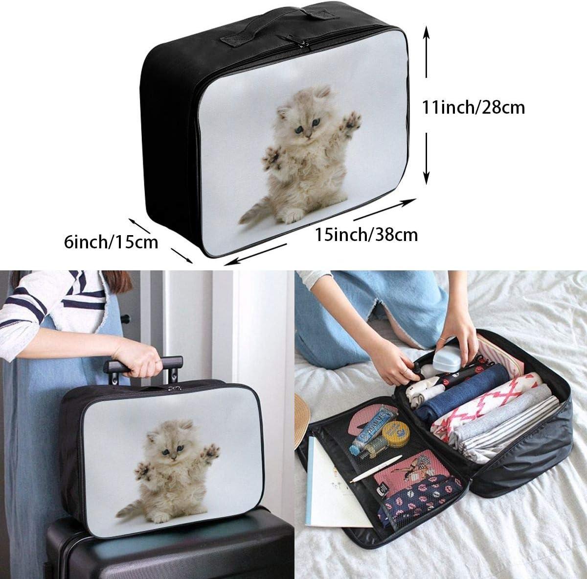 Yunshm White Pitiful Cute Cat Personalized Trolley Handbag Waterproof Unisex Large Capacity For Business Travel Storage